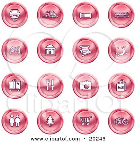 Clipart Illustration of a Collection Of Red Icons Of A Hotel, Road By Train Tracks, Bed, Bus, Wine Glasses, Tickets, Moon, Luggage, Diner, Camera, Shopping, Restrooms, Tree, Shopping Carts And Bicycle by AtStockIllustration