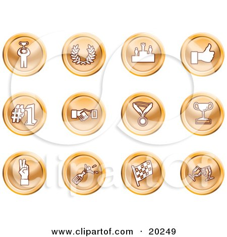 Clipart Illustration of a Collection Of Orange Icons Of A Winner, Laurel, Victory, Thumbs Up, Number 1, Handshake, Medal, Trophy, Champagne, Racing Flag And Wine by AtStockIllustration