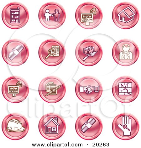 Clipart Illustration of a Collection Of Red Icons Of Apartments, Handshake, Real Estate, House, Money, Classifieds, Brick Laying, Businessman, Hardhat And A Key by AtStockIllustration