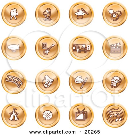 Clipart Illustration of a Collection Of Orange Entertainment Icons Of A Video Camera, Microphone, Magic Trick, Billiards, Blimp, Electric Guitar, Museum, Clapboard, Film Strip, Theatre Mask, Painting, Circus Tent, Basketball, Tv, And Music by AtStockIllustration