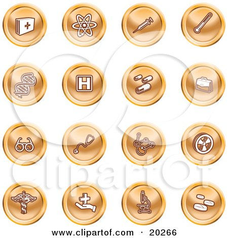 Clipart Illustration of a Collection Of Orange Icons Of Medicine, Science, And Biology by AtStockIllustration