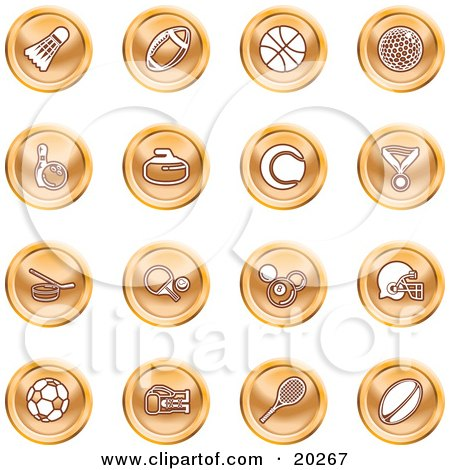 Clipart Illustration of a Collection Of Orange Athletics Icons Of A Badmitten Shuttlecock, Football, Basketball, Golf Ball, Bowling, Curling Stone, Tennis, Medal, Hockey, Ping Pong, Billiards, Football Helmet, Soccer Ball, Boxing, And Rugby by AtStockIllustration