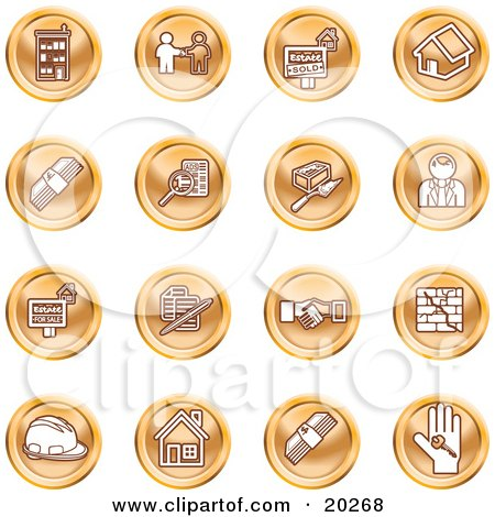 Clipart Illustration of a Collection Of Orange Icons Of Apartments, Handshake, Real Estate, House, Money, Classifieds, Brick Laying, Businessman, Hardhat And A Key by AtStockIllustration
