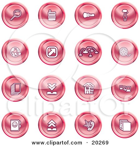 Clipart Illustration of a Collection Of Red Icons Of A Magnifying Glass, Cash Register, Flashlight, Internet, Film, Upload, Download, Home Page, And Connectivity by AtStockIllustration