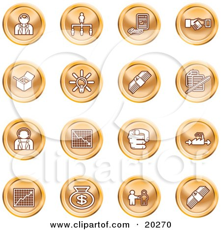 Clipart Illustration of a Collection Of Orange Business Icons Of Business People, Management, Hand Shake, Lightbulb, Cash, Charts, And Money Bags by AtStockIllustration