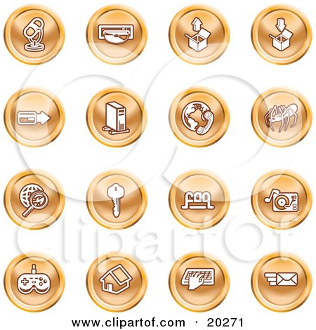 Clipart Illustration of a Collection Of Orange Entertainment Icons Of A Microphone, Disc, Upload, Download, Credit Card, Computer, Telephone, Spider, Searching, Key, Faq, Record Player, Controller, Home, Typing And Email by AtStockIllustration