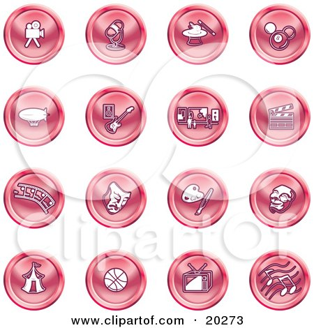 Clipart Illustration of a Collection Of Red Entertainment Icons Of A Video Camera, Microphone, Magic Trick, Billiards, Blimp, Electric Guitar, Museum, Clapboard, Film Strip, Theatre Mask, Painting, Circus Tent, Basketball, Tv, And Music by AtStockIllustration