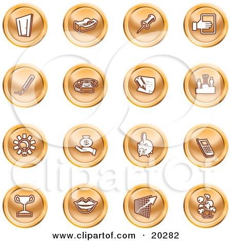 Clipart Illustration of a Collection Of Orange Icons Of A Door, Tape Dispenser, Tack, Pencil, Phone, Champion, Lightbulb, Money Bag, Piggy Bank, Cell Phone, Trophy, Lips, Chart, And Plant by AtStockIllustration