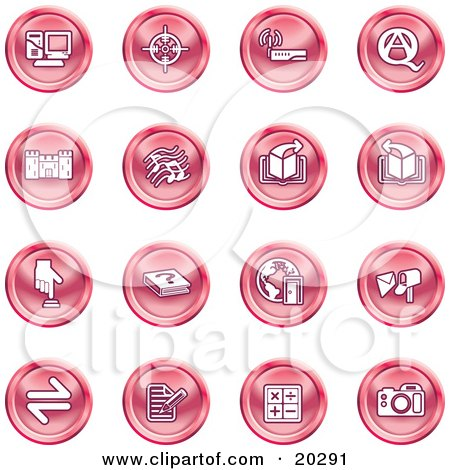 Clipart Illustration of a Collection Of Red Icons Of A Computer, Viewfinder, Wireless, Questions And Answer, Castle, Music, Forward, Back, Www, Mail, Math And Camera by AtStockIllustration