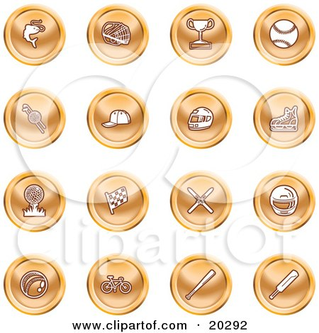 Clipart Illustration of a Collection Of Orange Fishing, Hockey, Trophy, Baseball, Golfing, Racing, Ice Skating, Skiing, Cricket, And Cycling Sports Icons by AtStockIllustration