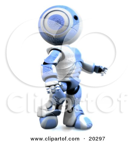 Clipart Illustration of a Tough And Durable Humanoid Blue And White Ao-Maru Robot With Deep Cuts And Scratches In His Plastic, Still Walking And Determined To Survive by Leo Blanchette