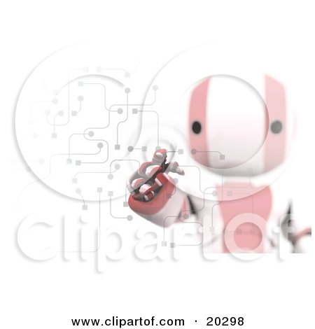 Clipart Illustration of Ripples Around A Humanoid Red And White Ao-Maru Robot's Finger As He Enters A Pin Or Password On A Keypad With Circuits, Symbolizing Security And Identification by Leo Blanchette