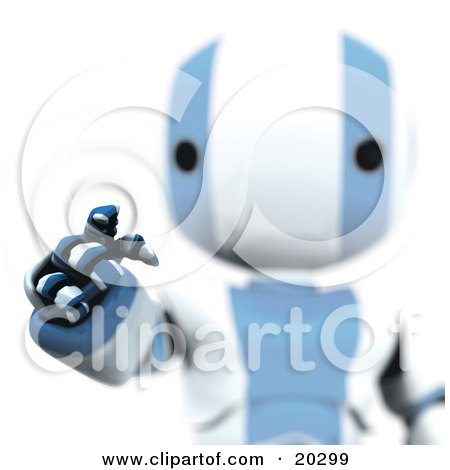 Clipart Illustration of Ripples Around A Humanoid Blue And White Ao-Maru Robot's Finger As He Enters A Security Pin Or Password For Identification On A Keypad by Leo Blanchette