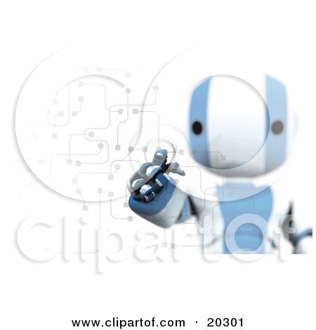 Clipart Illustration of Ripples Around A Humanoid Blue And White Ao-Maru Robot's Finger As He Enters A Pin Or Password On A Keypad With Circuits, Symbolizing Security And Identification by Leo Blanchette