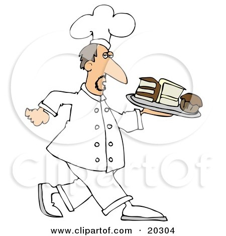 Clipart Illustration of a Male Chef In White, Carrying A Tray Of Desserts In A Bakery by djart