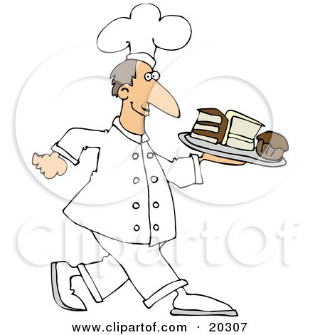 Clipart Illustration Of A Happy White Male Chef In Uniform Carrying A Tray Of Cake Slices And Cupcakes