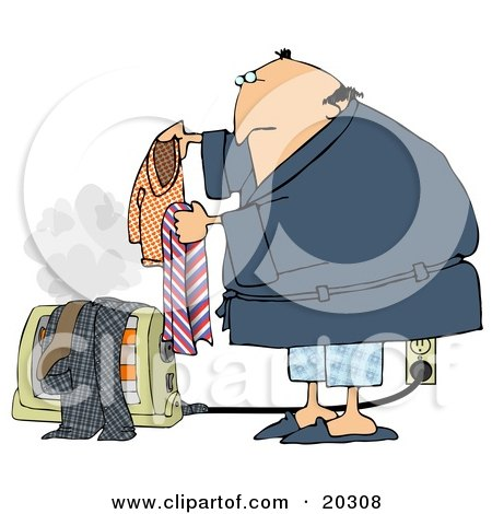 Clipart Illustration of an Unwise Middle Aged White Guy In A Robe And Pjs, Drying His Wet Laundry Over An Electric Floor Heater, Steam Rising Into The Air by djart