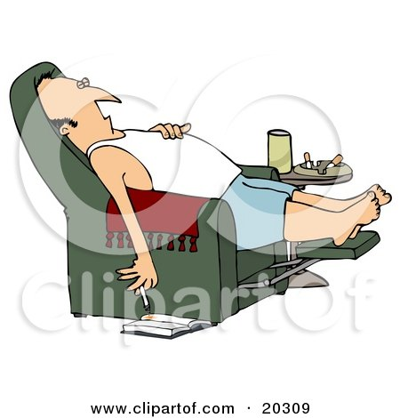 Clipart Illustration Of A Lazy White Man In A Tank Top And Boxers, Reclined In A Green Lazy Chair, Sleeping And Holding A Lit Cigarette Down Near A Book On The Floor
