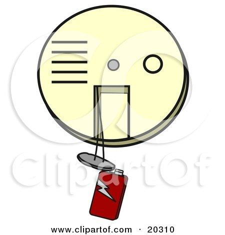 Clipart Illustration Of An Off White Smoke And Fire Alarm With A Red 9 Volt Battery Hanging Down, In Need Of A Replacement by djart