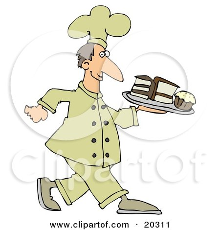 Clipart Illustration Of A Happy White Male Chef In A Yellow Hat And Uniform, Carrying A Cupcake And Slices Of Cake On A Tray In A Bakery by djart