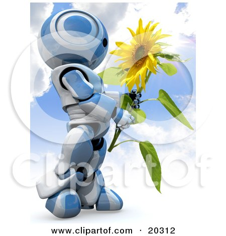 Clipart Illustration of a Blue And White AO-Maru Robot Carrying A Large Yellow Sunflower Against A Cloudy Blue Sky Background by Leo Blanchette