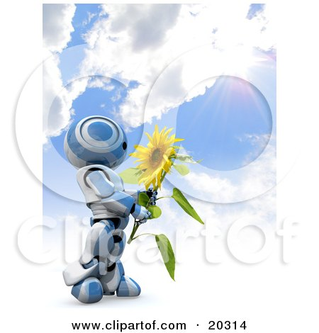 Clipart Illustration of a Blue And White AO-Maru Robot Holding A Big Yellow Sunflower Under A Burst Of Sunlight In A Cloudy Blue Sky by Leo Blanchette