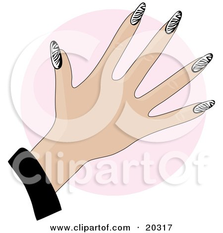 Clipart Illustration of a Woman's Manicured Hand With Gel Acrylic Zebra Print Fingernails Over A Pink Circle by Maria Bell