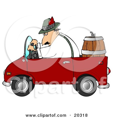 Clipart Illustration of a Man Driving A Red Compact Convertible Truck With A Beer Keg In The Back, Delivering Brew To An Oktoberfest Party by djart