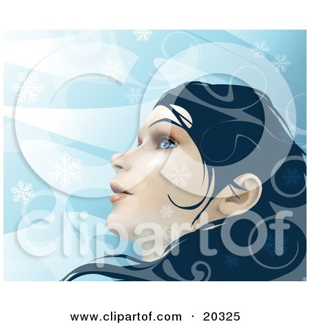 Clipart Illustration of a Young Beautiful Caucasian Woman With Blue Eyes And Dark Hair, Looking Up At The Wintry Sky As Snowflakes Fall Around Her Face by Tonis Pan