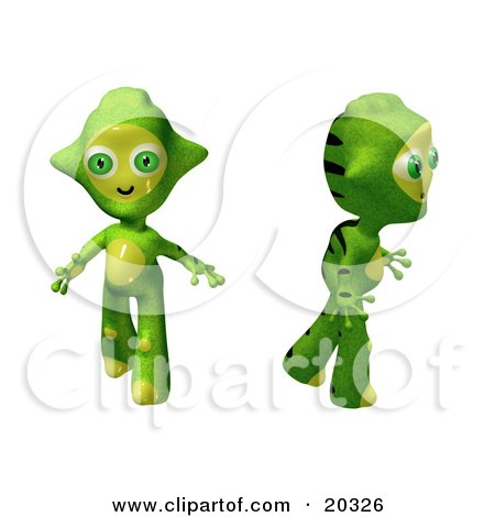 Clipart Illustration Of Two Cute Green And Yellow Alien Toys Walking And Looking Around Curiously After Arriving In A New Environment