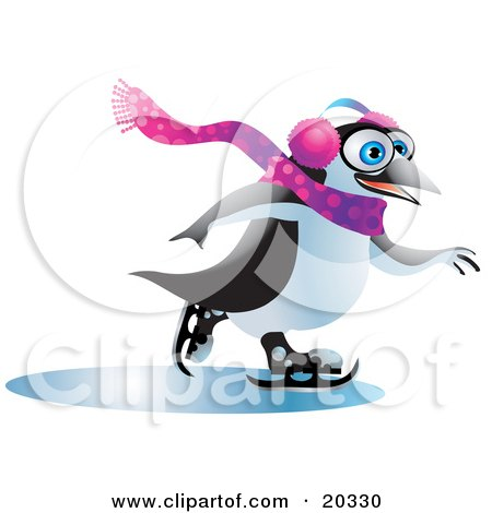 Clipart Illustration of a Jolly Blue Eyed Penguin Wearing Ear Muffs And A Scarf, Having Fun While Ice Skating On Frozen Water On A Winter Day by Tonis Pan