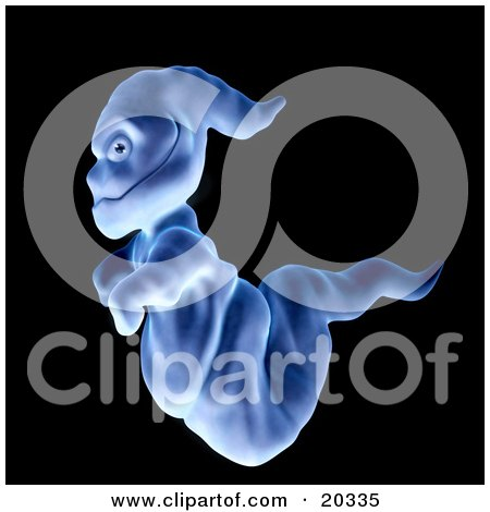 Clipart Illustration Of A Demonic Blue Ghoul Passing By And Glancing At The Viewer
