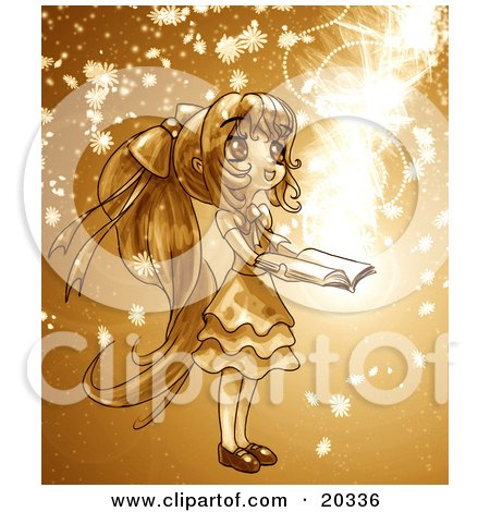 Clipart Picture of a Cute, Long Haired Manga Girl In A Dress, Holding A Magical Book Open While Floral Particles And Light Spin Around Her by Tonis Pan