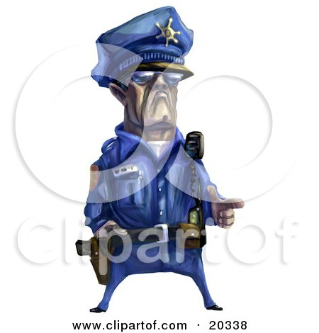 Tough Male Police Officer In A Blue Uniform, Holding His Fingers Out Like A Pistil Posters, Art Prints