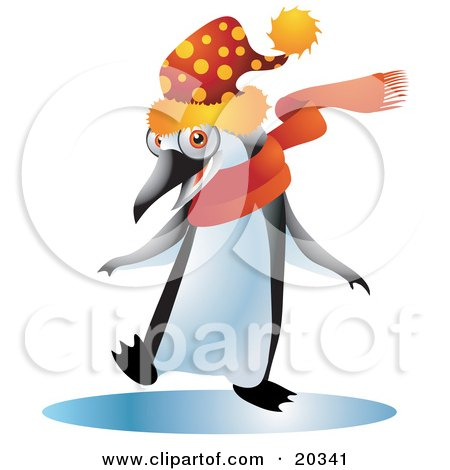 Happy Black And White Penguin Bird In A Spotted Wintry Hat And An Orange Scarf, Dancing On A Frozen Body Of Water Posters, Art Prints