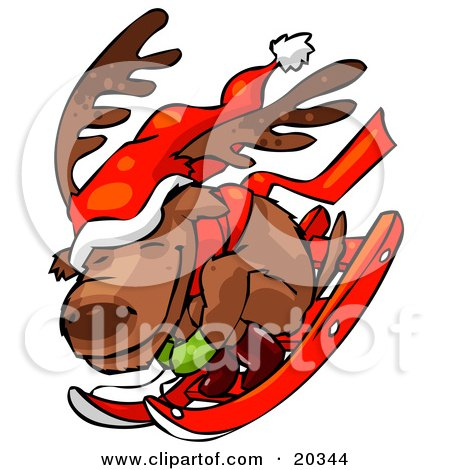 Clipart Illustration of a Reindeer Character Wearing A Santa Hat And A Scarf, Huddled Up And Riding Downhill While Sledding by Tonis Pan