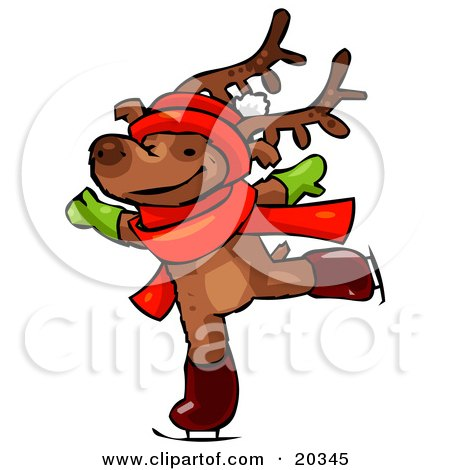 Clipart Illustration of a Reindeer Character Wearing A Santa Hat, Scarf And Mittens, Holding His Arms Out While Figure Ice Skating by Tonis Pan