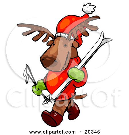 Clipart Illustration of a Reindeer Character Wearing A Santa Hat, Mittens And A Sweater, Carrying Skis And Poles And Going Skiing by Tonis Pan
