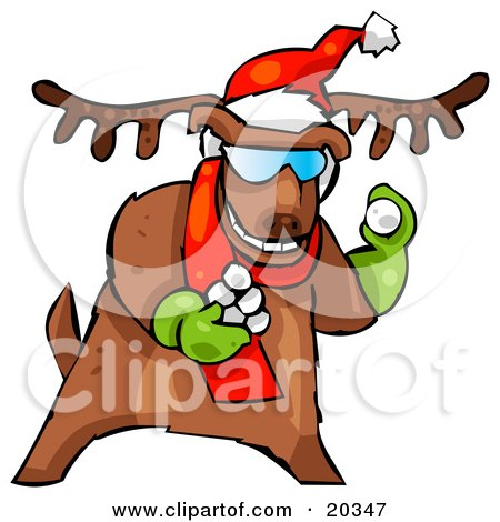 Clipart Illustration of a Reindeer Character Wearing A Santa Hat And Red Scarf And Green Gloves, Tossing Snowballs To Start A Fight by Tonis Pan