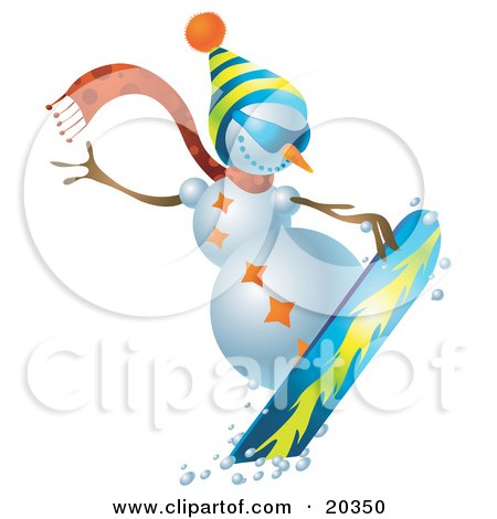 Clipart Illustration of a Sporty Snowman Wearing A Hat And Scarf, Snowboarding On Slopes by Tonis Pan