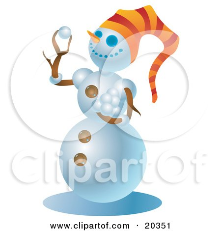 Clipart Illustration of a Mischievous Snowman Wearing An Orange Hat, Holding A Stack Of Snowballs And Preparing To Start A Snow Ball Fight by Tonis Pan
