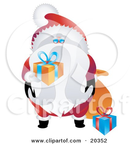 Clipart Illustration of Saint Nicholas In His Red And White Uniform, Holding Wrapped Gifts For Good Boys And Girls by Tonis Pan