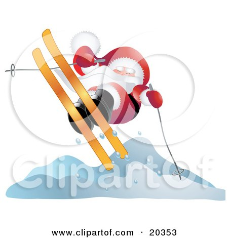 Clipart Illustration of Father Christmas In His Red And White Uniform, Catching Cold Air While Skiing by Tonis Pan