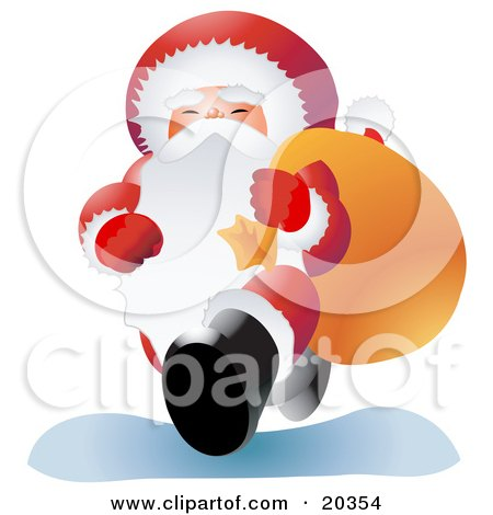 Clipart Illustration of Santa Claus In His Red And White Uniform, Smiling While Carrying A Heavy Sack Of Toys Over His Shoulder by Tonis Pan