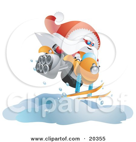 Clipart Illustration of Kris Kringle In His Red And White Uniform, Catching Air While Snowmobiling by Tonis Pan