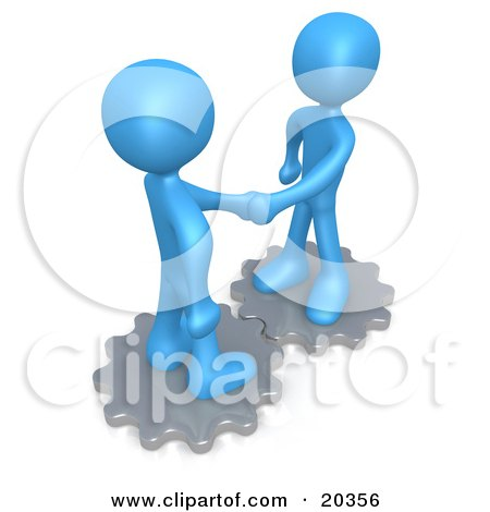 Clipart Illustration of Two Blue People Standing On Silver Cog Gears, Shaking Hands Upon Agreement Of A Business Deal by 3poD