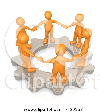 Clipart Illustration of a Group Of Orange Business Colleagues Holding Hands And Standing In A Circle On A Cog Gear, Symbolizing Teamwork And Support by 3poD