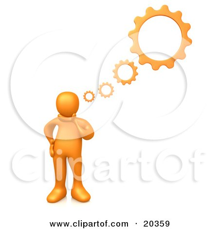 Clipart Illustration of an Orange Person Inventing A Creation In His Head, Cog Wheel Thought Bubbles Above Him by 3poD