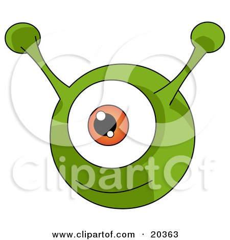 Happy Green Round Alien With An Orange Eye And Two Green Antenna Ears Posters, Art Prints