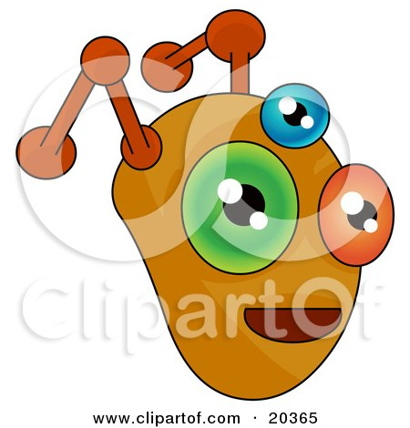 Clipart Illustration of a Monster Or Alien Face With Orange Antennae And Three Eyes, One Orange, One Blue And One Green by Tonis Pan